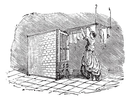 Old engraved illustration of movable clothes dryer with woman putting clothes on it. Industrial encyclopedia E.-O. Lami - 1875. Vector