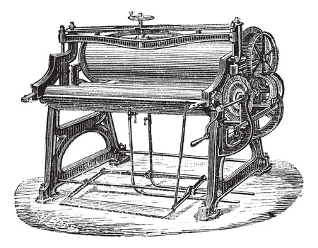 Old engraved illustration of mangle or wringer. Industrial encyclopedia E.-O. Lami - 1875. Illustration