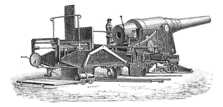 Old engraved illustration of Krupp cannon (72 tonnes) from Dusseldorf Exhibition (1880). Industrial encyclopedia E.-O. Lami - 1875.