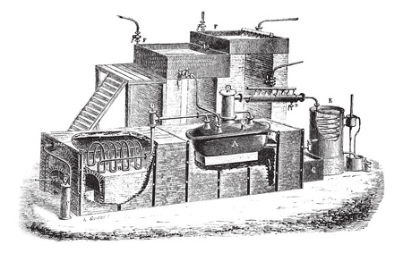 Old engraved illustration of Dutch type water distillation apparatus. Industrial encyclopedia E.-O. Lami - 1875. Stock Vector - 13772177
