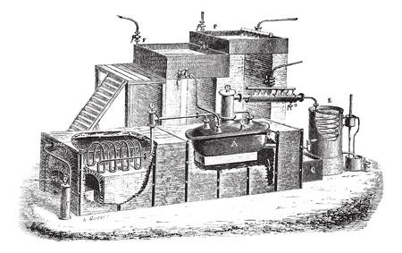 Old engraved illustration of Dutch type water distillation apparatus. Industrial encyclopedia E.-O. Lami - 1875.