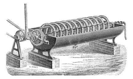 distillery: Old engraved illustration of rotary distillation apparatus. Industrial encyclopedia E.-O. Lami - 1875.