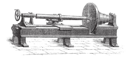 Old engraved illustration of the fabrication of cannon. Industrial encyclopedia E.-O. Lami - 1875. Stock Vector - 13771030