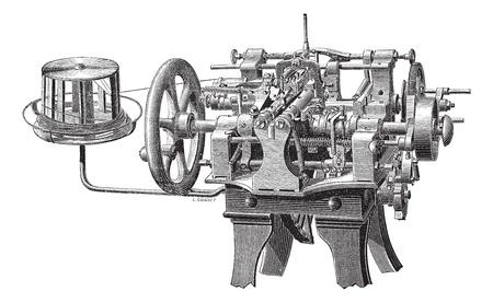 carding: Old engraved illustration of carding machine. Industrial encyclopedia E.-O. Lami - 1875.
