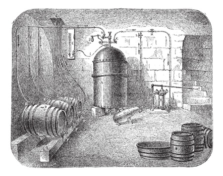 brew: Old engraved illustration of beer pumps. Industrial encyclopedia E.-O. Lami - 1875.