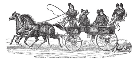 Old engraved illustration of Shooting-brake on horses with six people sitting on the cart. Industrial encyclopedia E.-O. Lami - 1875. Vector