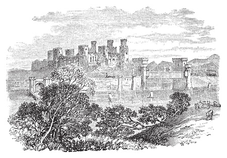 welsh: Old engraved illustration of Conway Castle, in North Wales. Build by King Edward between 1283 and 1289. Scan from Trousset Encyclopedia 1886 - 1891. Live trace vector. Illustration