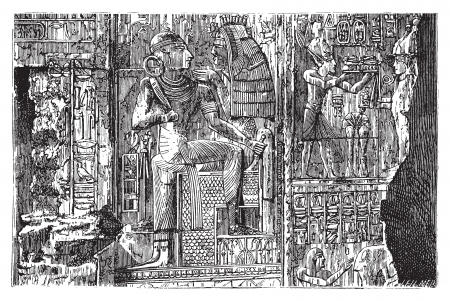 Abydos, Egypt. Bas-relief illustration of hieroglyph carvings on the wall. Complex scene carving of egyptian god and Pharaoh. Live trace vector. Ilustrace