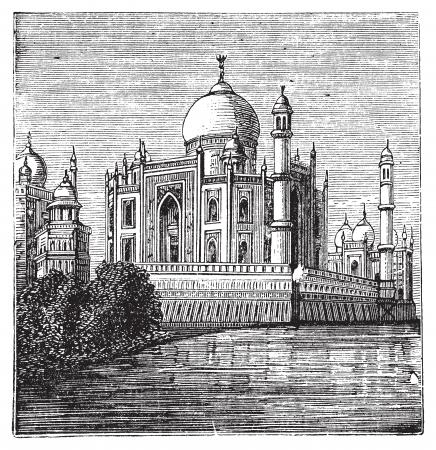 타지-마할, 인도. 오래 된 유명한 타지 마할 - 그림을 새겨 져있다. 1800 년대 후반부터 조각.