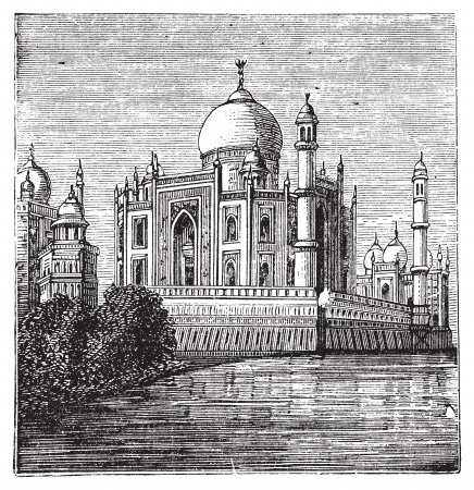 Taj-Mahal, India. Old engraved illustration of the famous Taj-Mahal. Engraving from late 1800. Vector