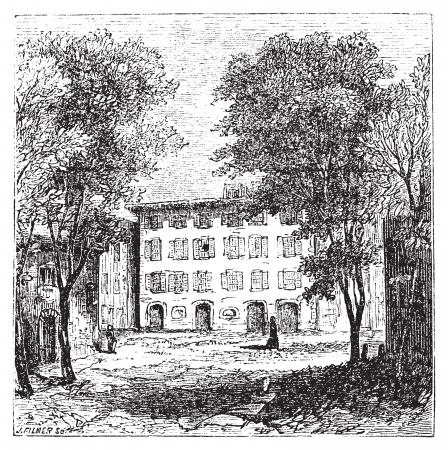 napoleon: Stad van Ajaccio, en het eiland Corsica in Frankrijk. Huis waar Napoleon geboren werd. Oude vintage gegraveerde afbeelding. Stock Illustratie