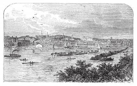 Albany, New York, en 1890. Capitale de l'État de New York. Gravure. Illustration de cru gravé de la célèbre capitale. Vif gravure pittoresque de la baie.