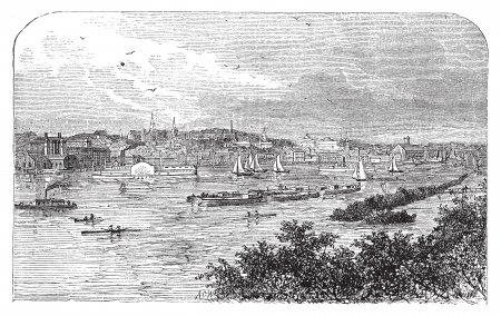 Albany, New York, in 1890. Capital city of New York state. Engraving. Vintage engraved illustration of the famous capital. Lively scenic engraving of the bay. Vector