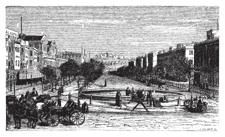 mohammed: Tahrir Square (formerly Mohammed Ali Square and Place des Consuls), in Alexandria, Egypt. Scenic engraving. Old engraved illustration, around 1890.