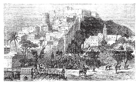 alger: Algiers town vintage engraving. Algiers or Alger is the capital and largest city of Algeria. Old engraved illustration, in vector.