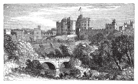 duke: Alnwick Castle, in Alnwick, Northumberland County. 1890 vintage engraved illustration. Vector engraving, Location of various film, such as Harry Potter and Elizabeth.