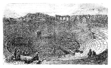 amphitheatre: Verona Arena in 1890, in Verona, Italy. Vintage engraving. Engraved illustration of the Verona Arena, with people sitting and working. Vector illustration.
