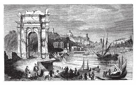 파멸: 앙 코나와 트라야누스, 이탈리아의 아치. 1890, 인원이 오래된 빈티지 그림. 야누스 아치와 항구의 풍경은 벡터의 그림을 새겨 져있다.