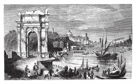 archaeology: Ancona and the Arches of Trajan, Italy. Scene from 1890, old vintage illustration. Trajan arches and harbour scenery engraved illustration in vector.