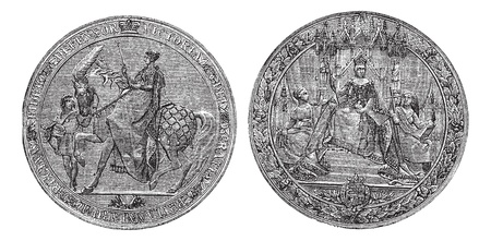 elizabeth: Great Seal of England by Queen Victoria vintage engraving. Old engraved illustration of the Victorian Great seal of Britain. Written Defensor Victoria Gratia Britanniarum Regina. Isolated on white Illustration