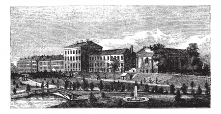 naval: United States Naval Academy in Annapolis, Maryland, USA, vintage engraved illustration. Trousset encyclopedia (1886 - 1891).
