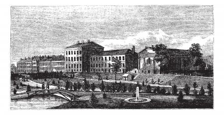 maryland: United States Naval Academy in Annapolis, Maryland, USA, vintage engraved illustration. Trousset encyclopedia (1886 - 1891).