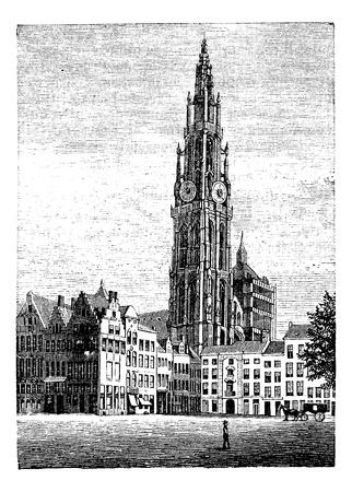 reloj antiguo: Catedral de Nuestra Señora, en Amberes, Bélgica, el grabado de la vendimia. Ilustración del Antiguo grabado de uno de los sitios Patrimonio de la Humanidad, la Catedral de Nuestra Señora, de Amberes.