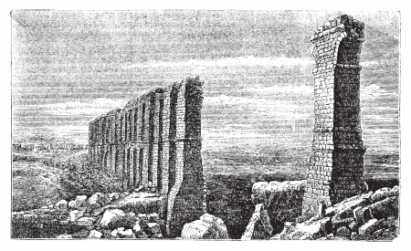 longest: Zaghouan to Carthage roman aqueduct ruins old engraving.  Ruins of the longest roman aqueduct built, from Zaghouan to Carthage, 132km, now in ruins. Vector, engraved illustration