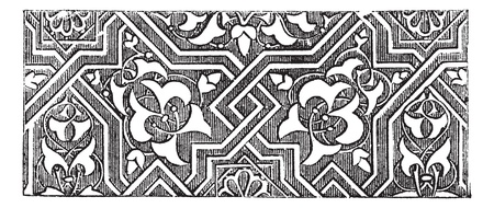 9th: Islamic art or Arabesque. Vintage engraving. Old engraved illustration of Islamic art used consistently from about the 9th century onwards.