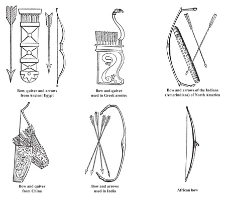 Ancient Egypt, Greek, Chinese, Indian, Amerindian and African bow, arrows and quiver old engraving, Engraved illustration of bow and arrows weapon used in ancient time. Vector
