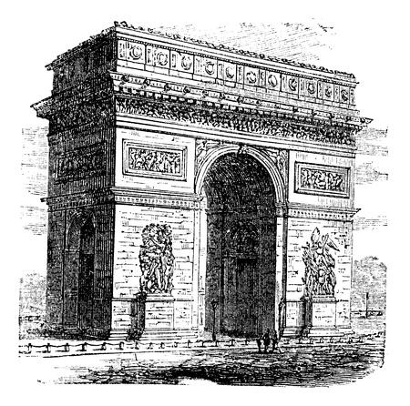 凱旋門のアーチや凱旋門、パリ、フランス。ビンテージの彫刻。古い凱旋門のイラストを刻まれています。パリの最も有名なモニュメントの一つで