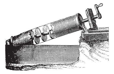 Archimedes screw vintage engraving. Old Engraved illustration of Archimedes screw.  A device that Archimedes developed  to irrigate their land. Vector