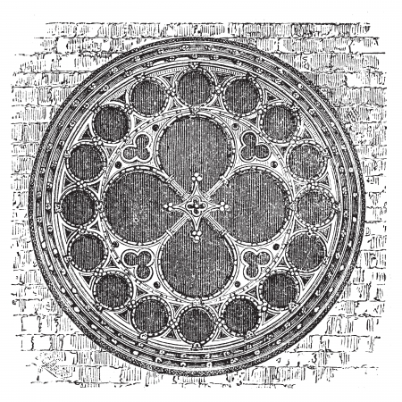 Deans eye rose window in the North Transept of Lincoln Cathedral, England. Old engraving. Old engraved of Deans eye rose window, in the Cathedral Church of the Blessed Virgin Mary of Lincoln. Ilustração