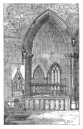 stone arch: Decoracted gothic arch in Dorchester Abbey in Dorchester-on-Thames, Oxfordshire, England. Old engraved illustration of the Abbey interior arches.