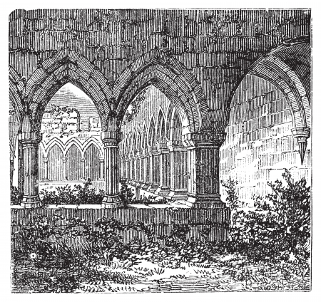 Gothic cloisters and arch at Kilconnel Abbey, in County Galway, Ireland. Old engraving. Old engraved illustration of gothic cloister. Vector