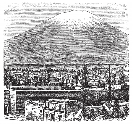 snowcapped mountain: Arequipa and the Misti volcano old engraving, in 1890. Old engraved illustration of Arequipa and his volcano, Peru. Illustration