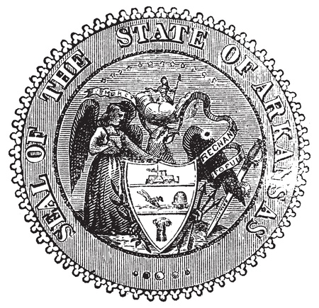 plow: Seal of Arkansas prior to 1907 old engraving. Vintage engraved illustration of the Seal of Arkansas as created in 1864. Show the Angel of Mercy, Goddess of Liberty, Sword of Justice and bald eagle holding a scroll symbols.