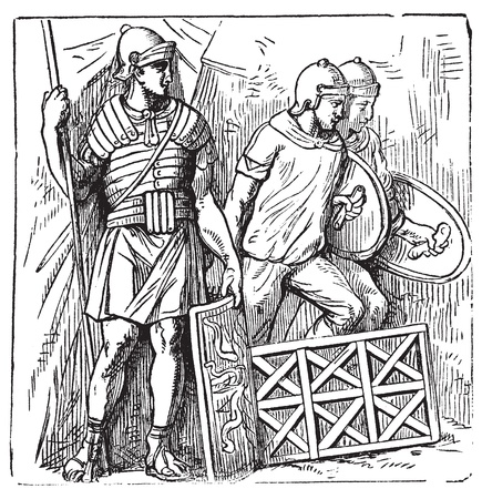 segmentata: Roman armors and shield old engraving, based on the Trajans Column. Vector, engraved illustration of roman soldier, equipped with armor, montefortino helmet, spear and shield