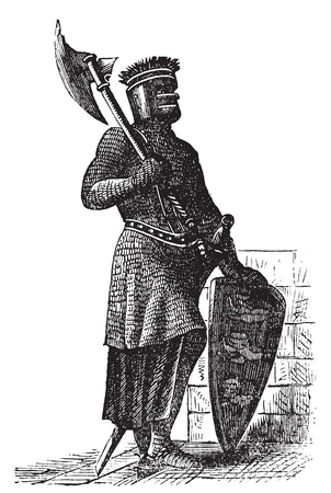 Armor and weapons during the first Crusades era, old engraving. Vector, engraved illustration of Crusade knight, in mail armor, with hauberk, shield and sword. Stock Vector - 13770763