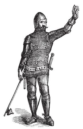 Soldat français en armure en 1370, gravure ancienne. Vecteur, illustration gravée d'un soldat en armure à l'époque médiévale. Vecteurs