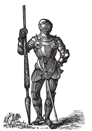 henry: Henry VII armor, King of England, old engraving. Vector, engraved illustration of King Henry VII full body armor, with his lance and sword. Illustration