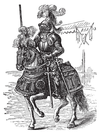 chevalerie: Ironclad pleine cheval et le cavalier blind� cors�. Gravure ancienne