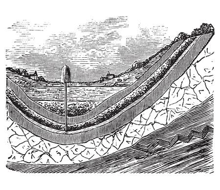 자갈: 지하수 우물이나 지하수 대수층, 포도 수확, 조각. 오래 된 빈티지 지구에서 다른 레이어를 표시, 지하수 아의 내부의 그림을 새겨 져있다.