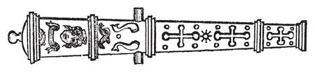 mosquetero: Culebrina o medieval grabado viejo cañón. Ilustración del Antiguo grabado de un arma de culebrina.