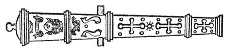Culverin or medieval cannon old engraving. Old engraved illustration of of a culverin weapon.