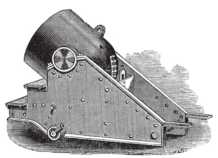 howitzer: Mortar cannon vintage engraving. Old engraved illustration of a mortar