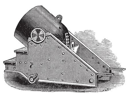 trajectoire: Mortier canon Gravure mill�sime. Vieux illustration grav�e d'un mortier