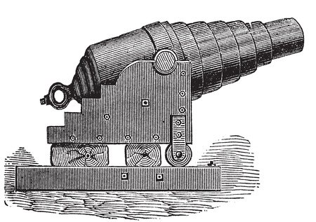 weaponry: Armstrong cannon or Armstrong gun old engraving. Old engraved illustration of an Armstrong cannon. Illustration