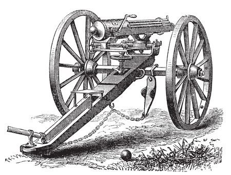 a cannon: Galting gun vintage engraving. Old engraved illustration of a Galting gun. Gatling gun was designed by the American inventor Dr. Richard J. Gatling in 1861