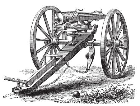 Galting pistool vintage graveren. Oude gegraveerde afbeelding van een Galting pistool. Gatling gun is ontworpen door de Amerikaanse uitvinder dr. Richard J. Gatling in 1861
